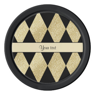 Elegant Black & Gold Diamonds Poker Chips