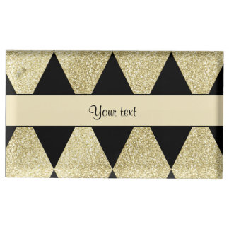 Elegant Black & Gold Diamonds Table Number Holder