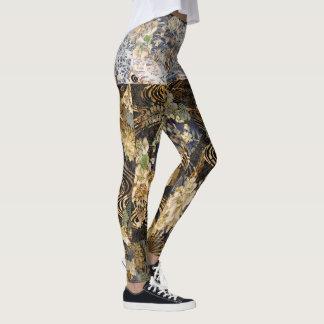 Elegant Black & Gold Fans Leggings