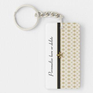 Elegant Black Gold Fleur de Lis Pattern Rectangle Acrylic Keychains