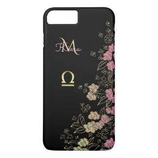 Elegant Black Gold Floral Zodiac Sign Libra iPhone 7 Plus Case