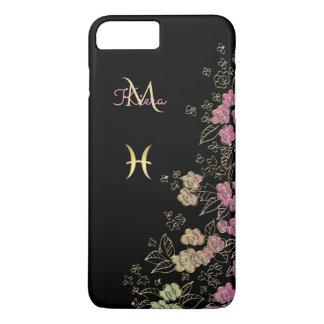 Elegant Black Gold Floral Zodiac Sign Pisces iPhone 8 Plus/7 Plus Case