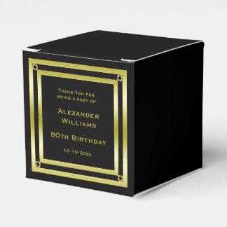 Elegant Black & Gold Framed 80th Birthday Favour Box