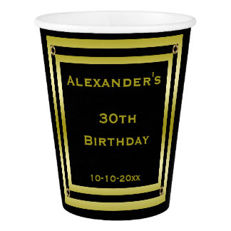 Elegant Black & Gold Framed Man's 30th Birthday Paper Cup