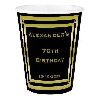 Elegant Black & Gold Framed Man's 70th Birthday Paper Cup