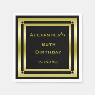 Elegant Black Gold Framed Mans 85th Birthday Paper Napkin