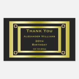 Elegant Black & Gold Framed Thank You Rectangular Sticker
