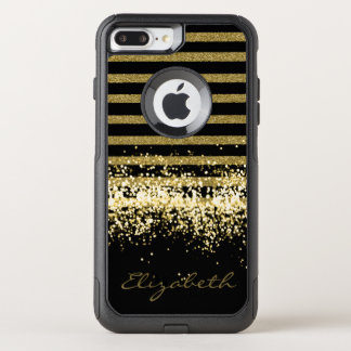 ELEGANT BLACK GOLD GLITTER PERSONALIZED OtterBox COMMUTER iPhone 8 PLUS/7 PLUS CASE
