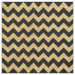 Elegant Black Gold Glitter Zigzag Chevron Pattern Fabric