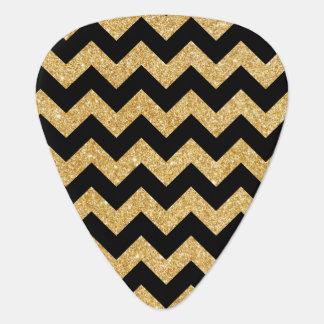 Elegant Black Gold Glitter Zigzag Chevron Pattern Guitar Pick