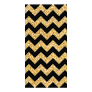 Elegant Black Gold Glitter Zigzag Chevron Pattern Photo Greeting Card