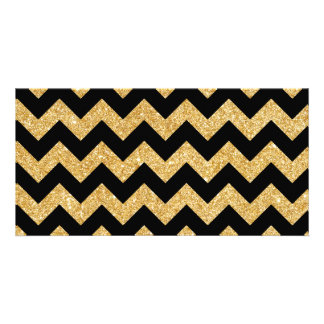 Elegant Black Gold Glitter Zigzag Chevron Pattern Picture Card
