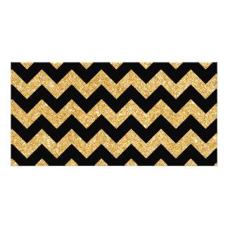 Elegant Black Gold Glitter Zigzag Chevron Pattern Picture Card