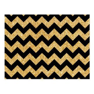 Elegant Black Gold Glitter Zigzag Chevron Pattern Postcard