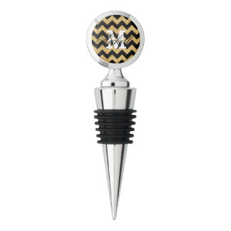 Elegant Black Gold Glitter Zigzag Chevron Pattern Wine Stopper