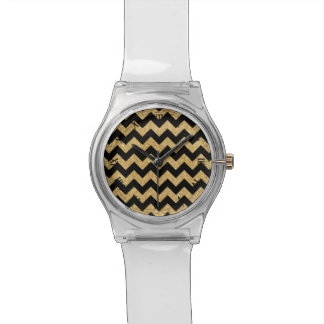 Elegant Black Gold Glitter Zigzag Chevron Pattern Wristwatch