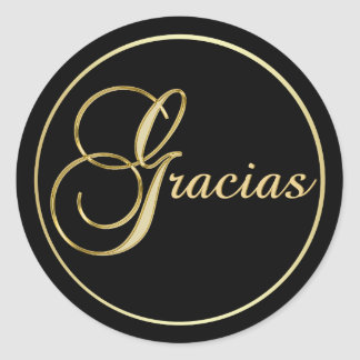 Elegant Black Gold GRACIAS Envelope Favor Classic Round Sticker