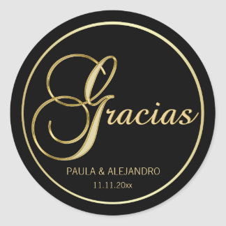 Elegant Black Gold GRACIAS Wedding Envelope Classic Round Sticker