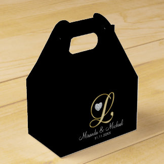 Elegant Black Gold Heart Monogram L Wedding Gift Favour Box