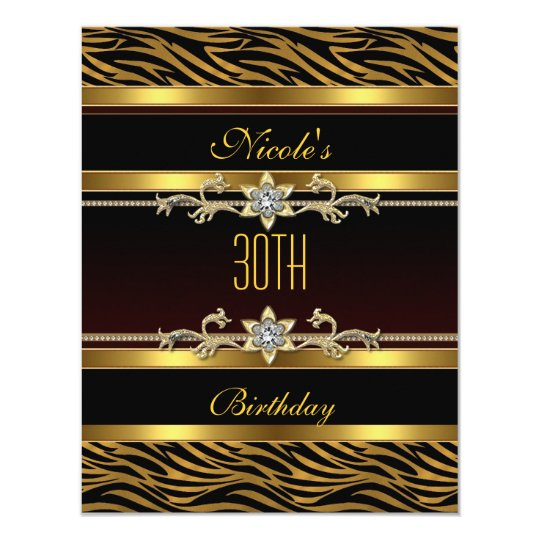 Elegant Black gold Jewel 30th Birthday Invitation