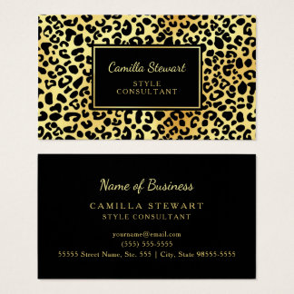 Elegant Black Gold Leopard Print Style Consultant Business Card