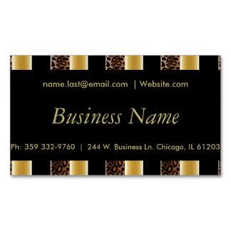Elegant Black & Gold Leopard Stripes Magnetic Business Cards