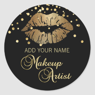 Elegant Black Gold  Lips Makeup Artist Classic Round Sticker