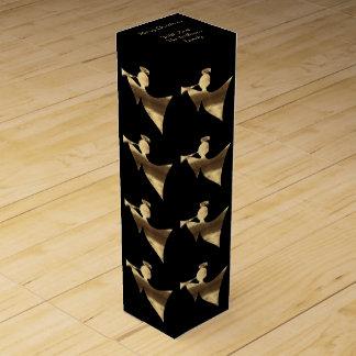 Elegant Black Gold Look Angel Pattern Wine Box