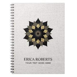 Elegant Black & Gold Lotus Flower Classy Linen Notebook