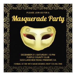 Elegant Black Gold Masquerade Party Invitation