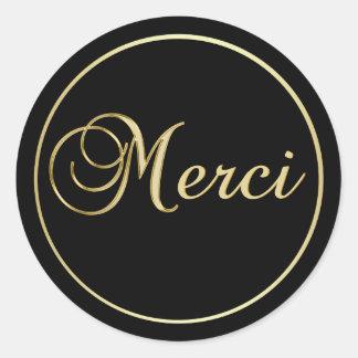 Elegant Black Gold MERCI Labels Stickers