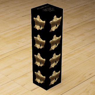 Elegant Black Gold Merry Christmas Bells Pattern Wine Box
