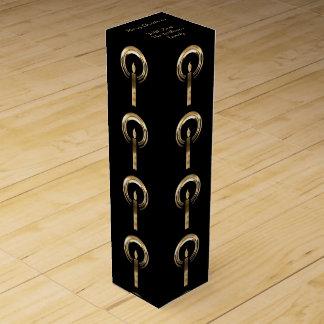 Elegant Black Gold Merry Christmas Candle Pattern Wine Gift Box