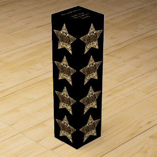 Elegant Black Gold Merry Christmas Star Pattern Wine Box