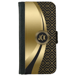 Elegant Black & Gold Modern Geometric Pattern iPhone 6 Wallet Case