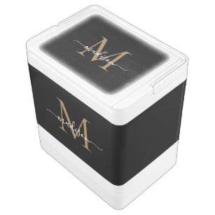 Elegant Black Gold Monogram Feminine Script Name Cooler