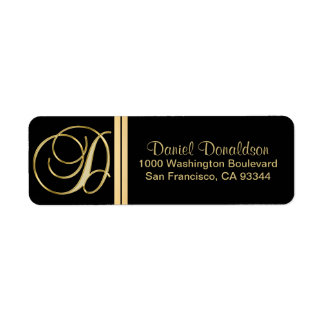 Elegant Black Gold Monogram Letter 'D' Return Return Address Label