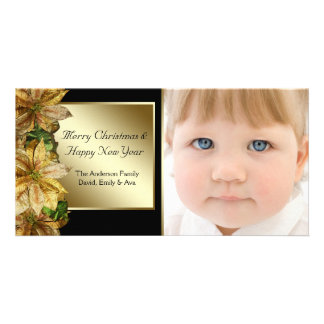 Elegant Black Gold Poinsettia Photo Christmas Card