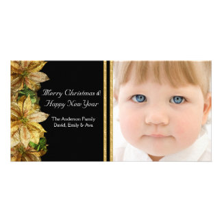 Elegant Black Gold Poinsettia Photo Christmas Card Personalized Photo Card