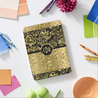 Elegant Black & Gold Print Floral Damasks Pattern iPad Air Cover