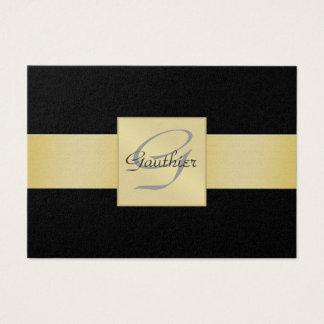 Elegant Black Gold Ribbon Monogram Business Card