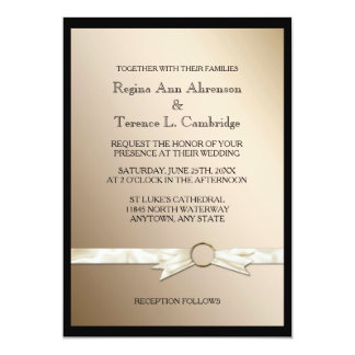 Elegant Black Gold Ribbon Wedding Card