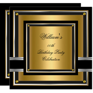Elegant Black Gold Silver Birthday Party Mens boys Card