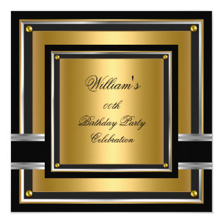 Elegant Black Gold Silver Birthday Party Mens Mans 13 Cm X 13 Cm Square Invitation Card