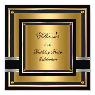 Elegant Black Gold Silver Birthday Party Mens Mans Card
