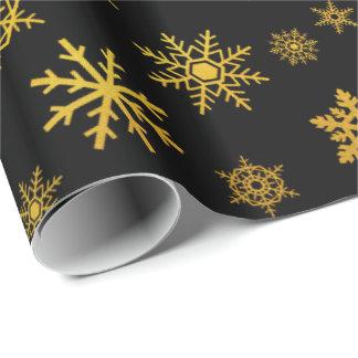 Elegant black gold snowflake party wrap wrapping paper
