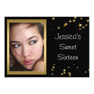 Elegant Black Gold Stars Photo Sweet 16 13 Cm X 18 Cm Invitation Card