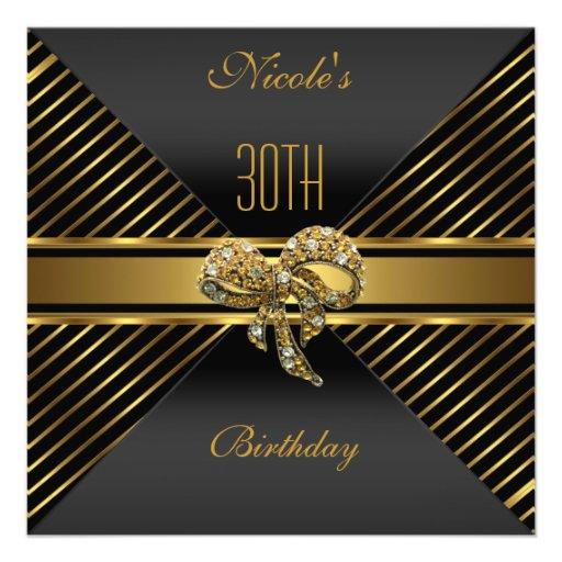 Elegant Black gold Stripe 30th Birthday Invitation Invites