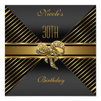 Elegant Black gold Stripe 30th Birthday Invitation