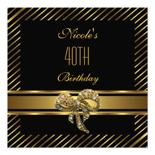 Elegant Black gold Stripe 40th Birthday Invitation Custom Announcements